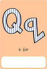 Make your own letter q book with this letter q book cover template.