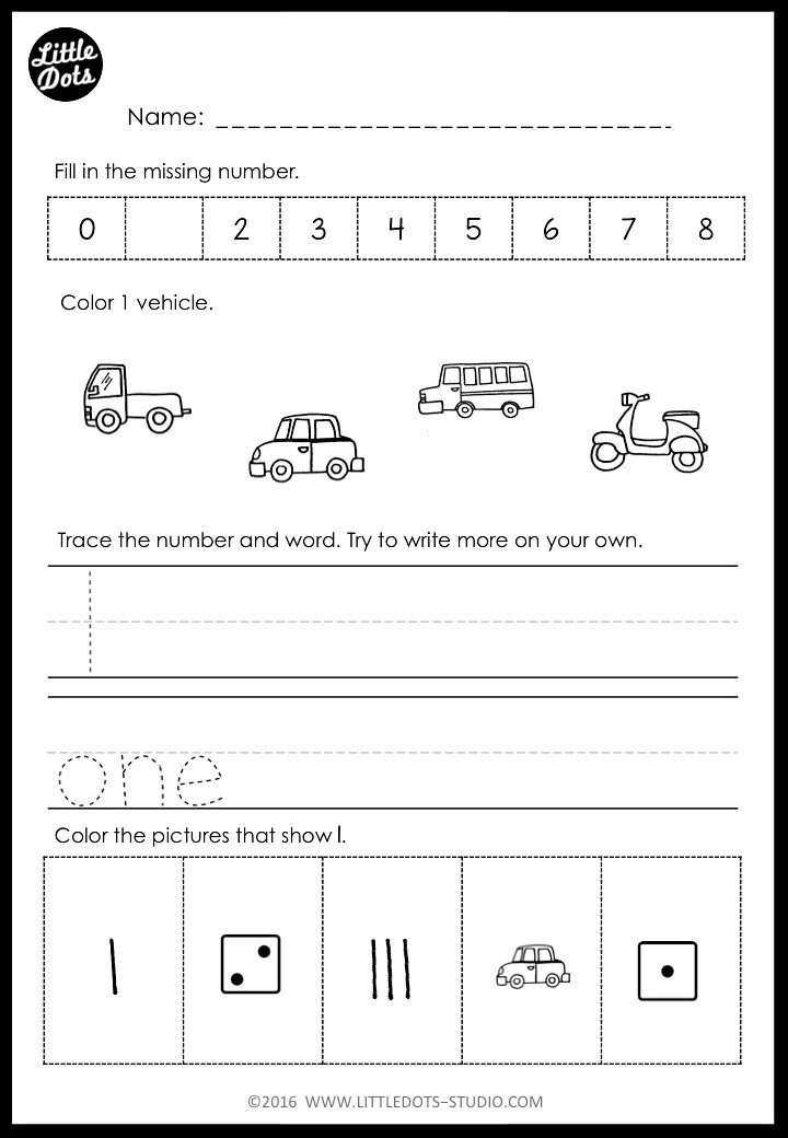 number 1 worksheet for kindergarten