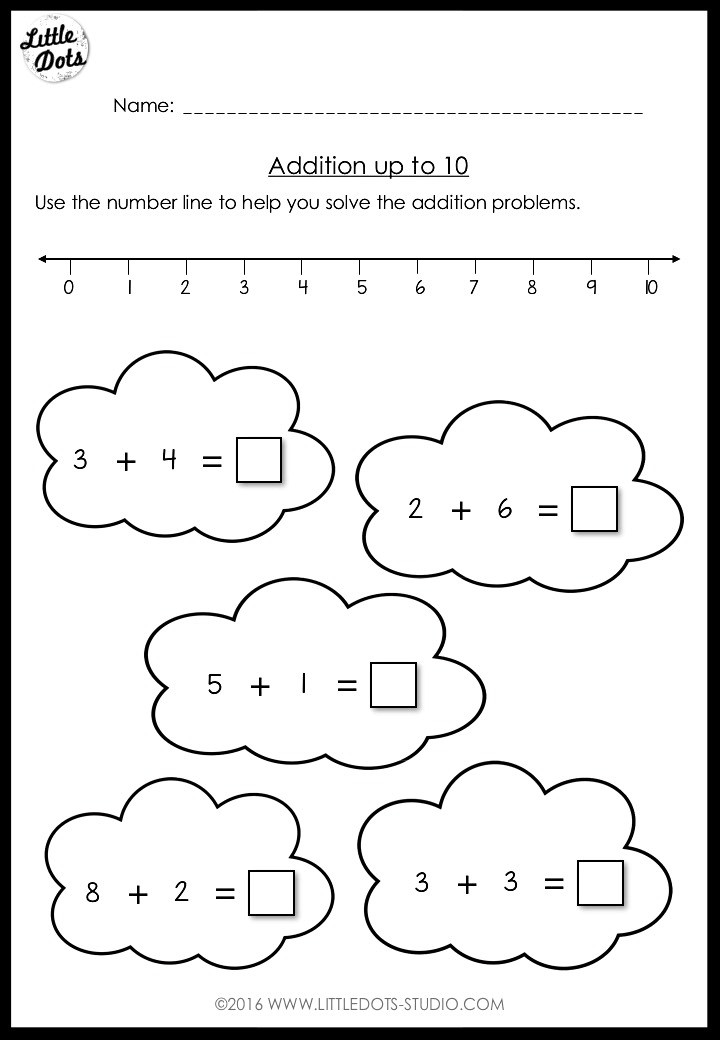 Addition with number line worksheet
