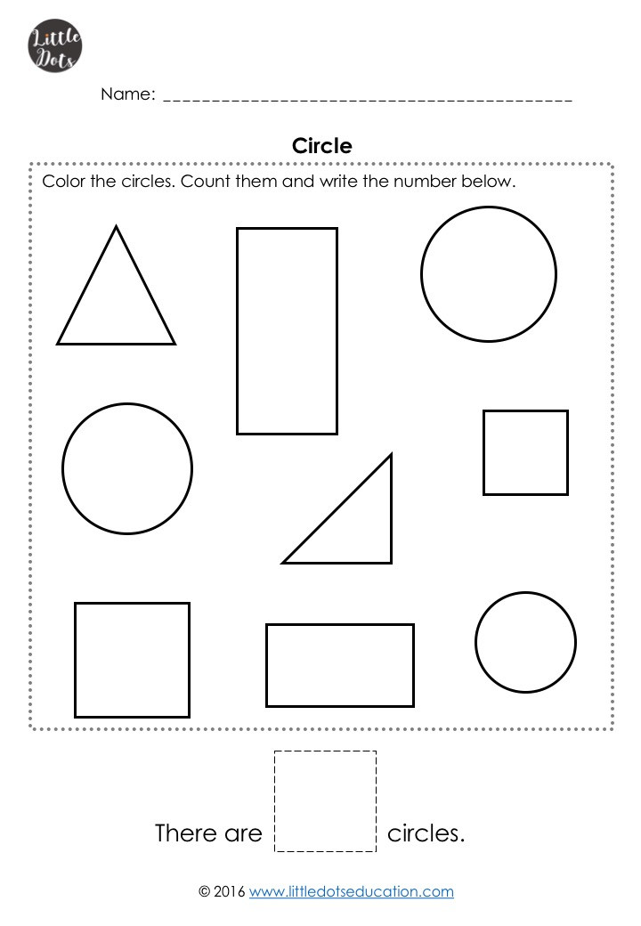 Free circle shape worksheet for pre-k