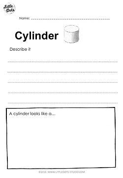 Free 3D Shape worksheet on cylinder