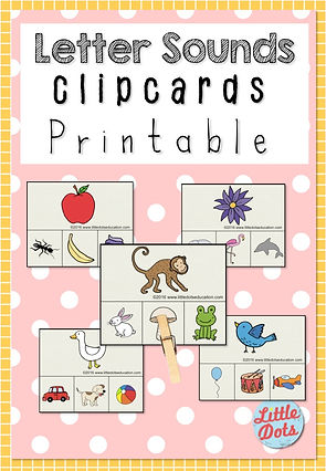 Free Letter Sounds Clipcards Printable. Match the items with the same sounds.