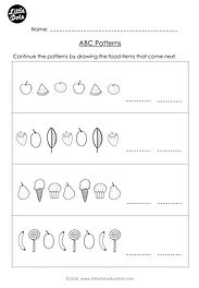 Free The Very Hungry Caterpillar patterning worksheet. Practice to continue ABC patterns.