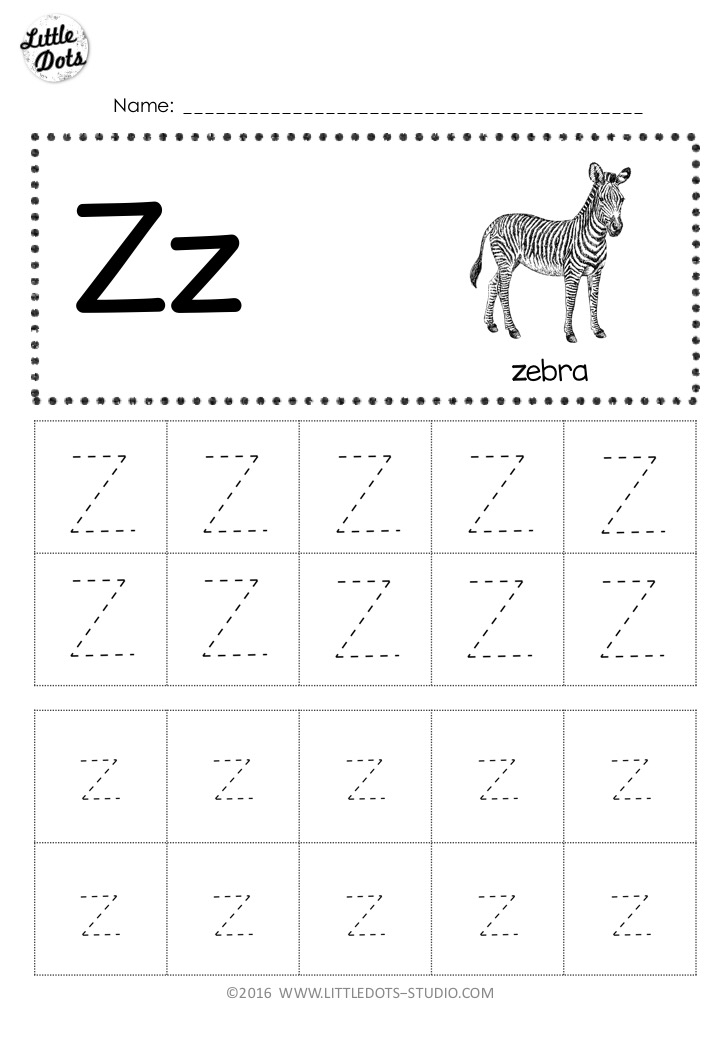 Free Letter Z Tracing Worksheets