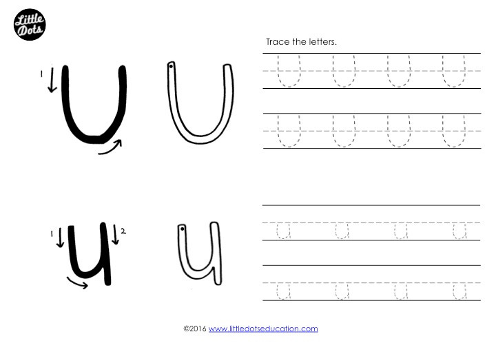 Letter U Tracing Worksheet