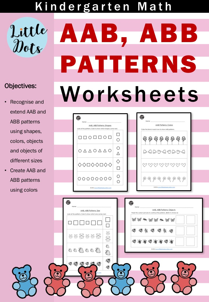 Printable Worksheets identifying patterns worksheets : AAB and ABB Patterns Worksheets and Activities for Kindergarten ...