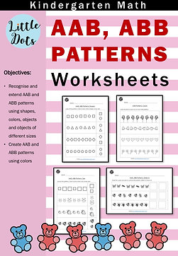 AAB, ABB Patterns Worksheets for Kindergarten