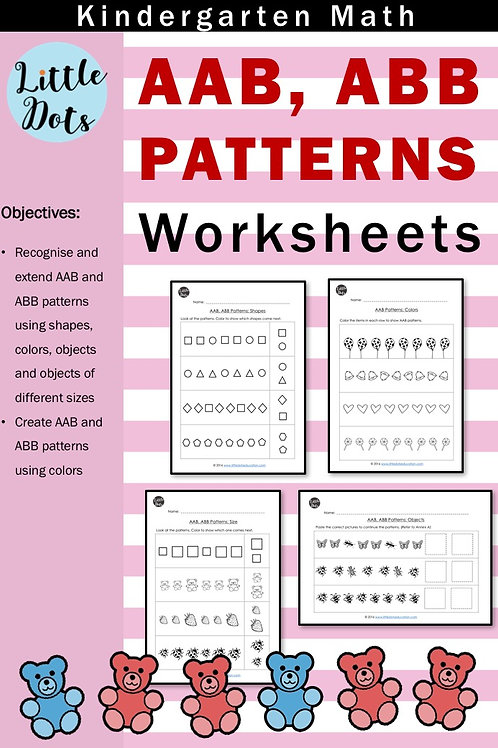 AAB, ABB patterns worksheets for kindergarten