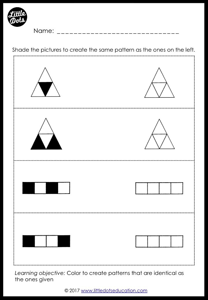 Patterns matching  and spatial awareness activity for kindergarten