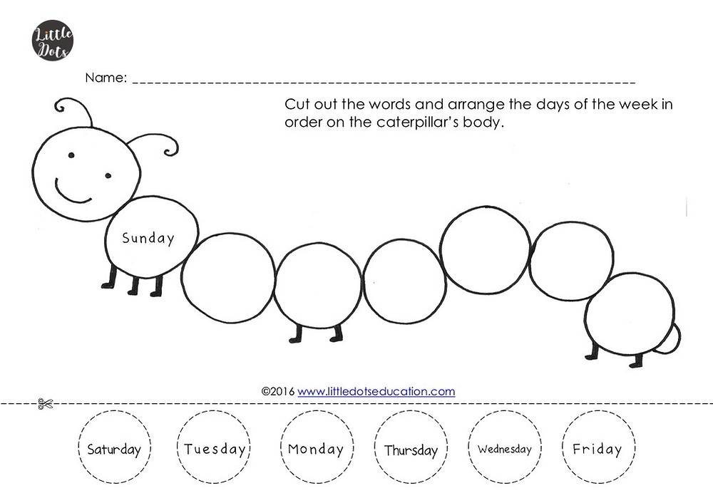 Days of the week activity for preschool, pre-k or kindergarten