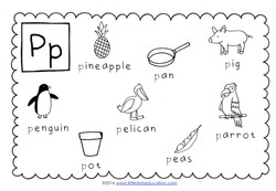 this letter p poster is great for introducing the letter p the words included are pineapple pan pig penguin pelican parrot peas and pot