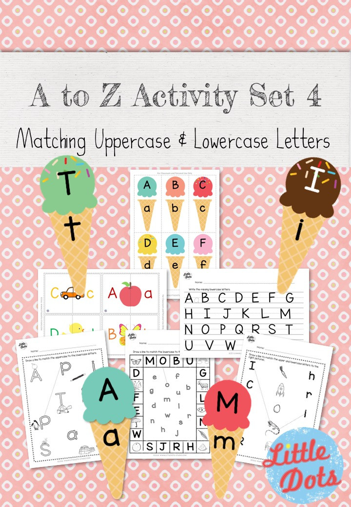 A to Z Activity Set 4 - Matching Upper and Lowercase Letters