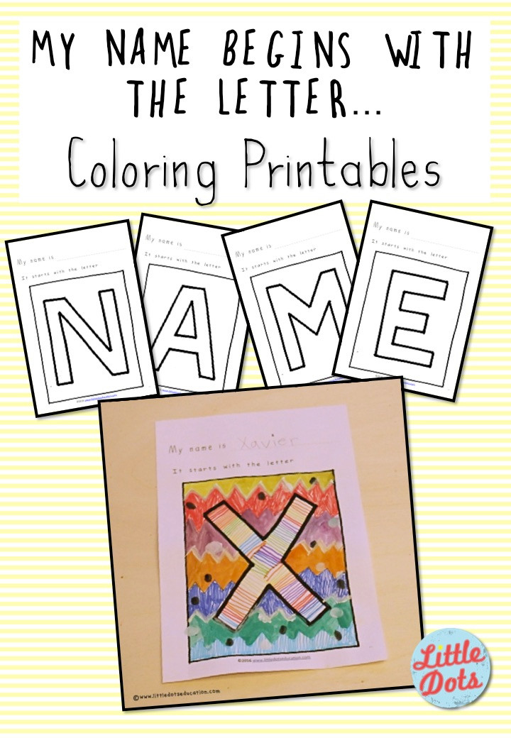 My Name Begins with the letter...Coloring Printable