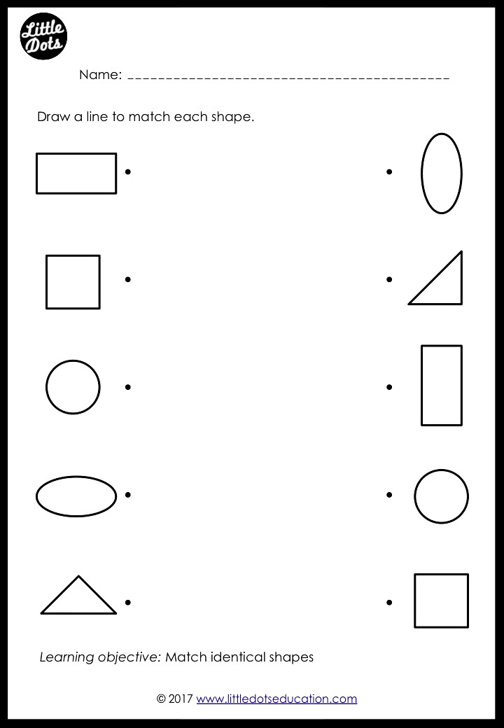 preschool shapes matching worksheets and activities little dots education preschool. Black Bedroom Furniture Sets. Home Design Ideas