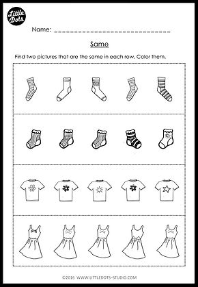 Kindergarten Same And Different Worksheets And Activities Little