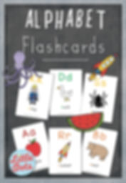 free alphabet flashcards for preschool, pre-k or kindergarten class. Includes 26 letter a to z cards with uppercase and lowercase letters, adorable illustration and words.
