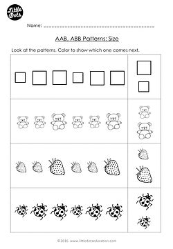 Free AAB and ABB Patterns Worksheet for Kindergarten Level. Color the pictures that come next to continue the AB patterns.