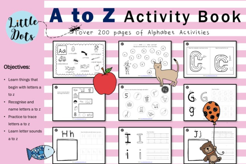 Letter A to Z Activity Book | littledotseducation