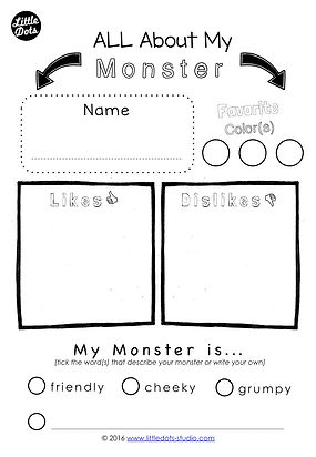 Creative Writing template to create your own monster.  Literacy activity for preschoolers to first graders.