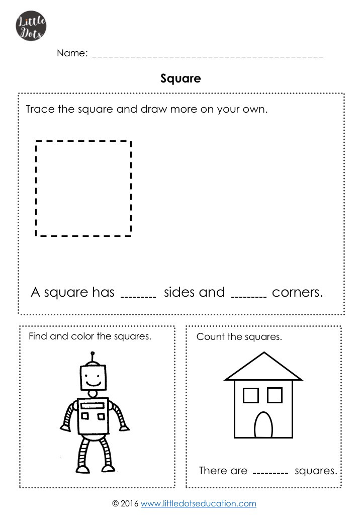 Free square shape worksheet for kindergarten