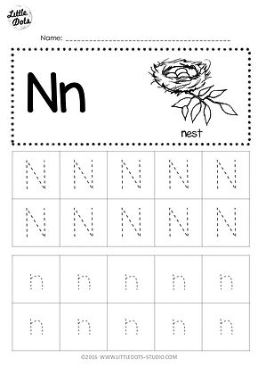 Free Letter N Tracing Worksheets Little Dots Education Preschool