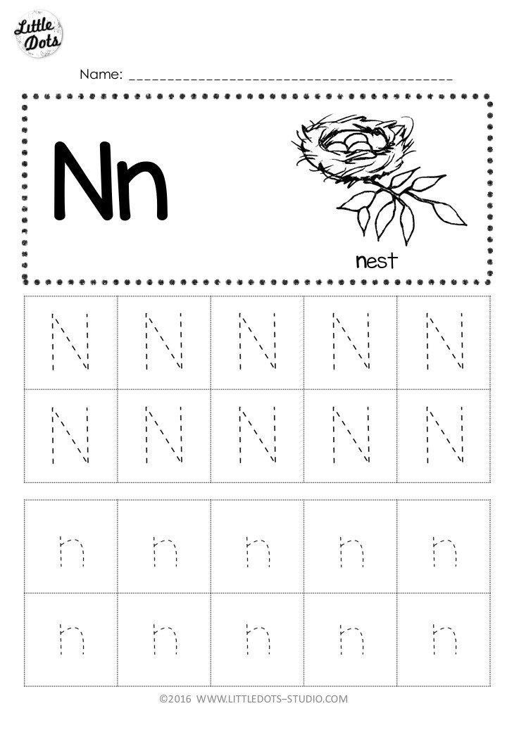 Free Letter N Tracing Worksheets