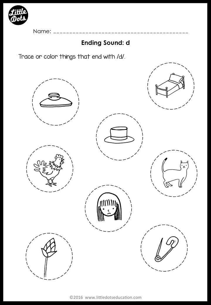 Phonics worksheet for preschool on ending sound d.