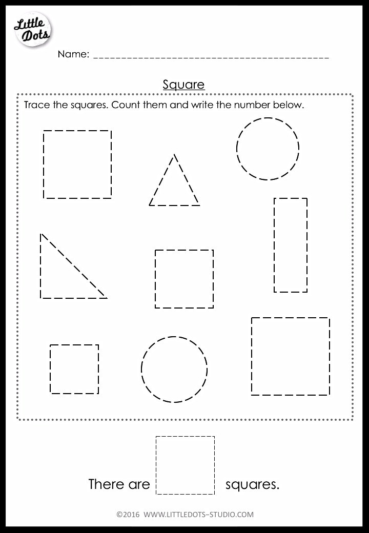 counting square shape worksheet for pre-k