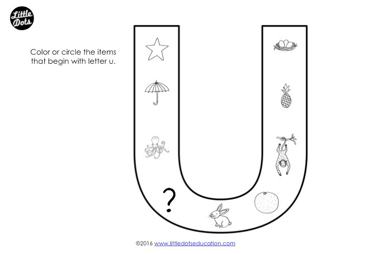 Letter U Sound Worksheet