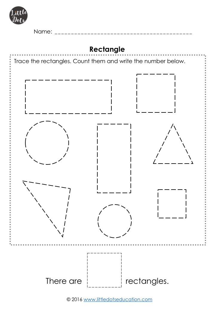 Free rectangle shape worksheet for pre-k