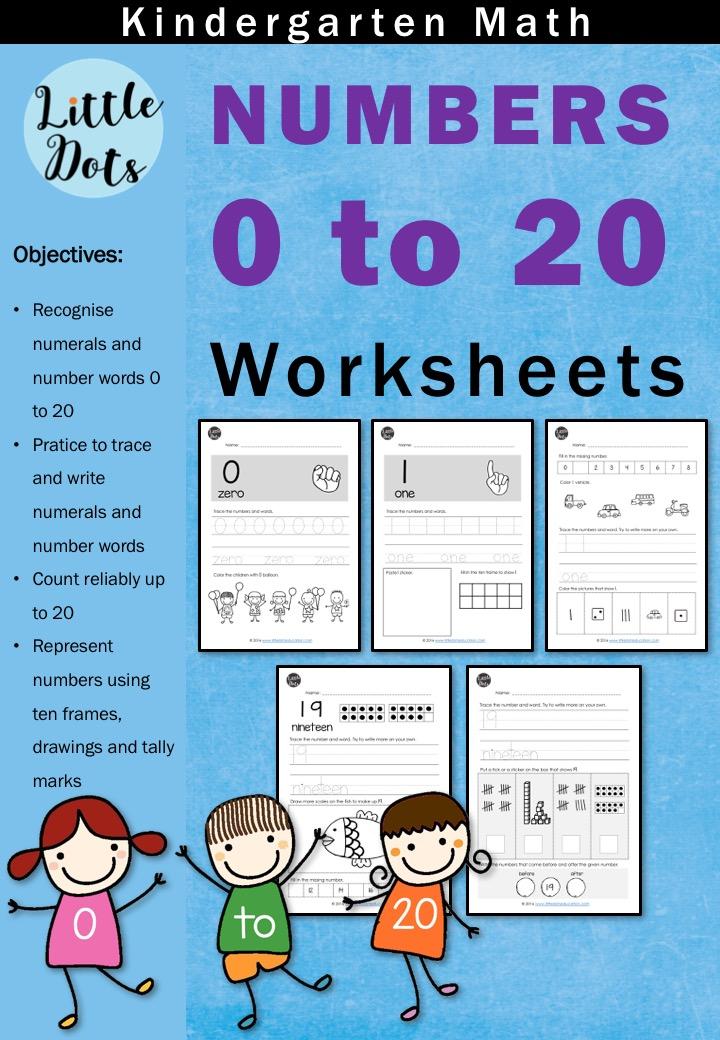 Kindergarten Numbers 0 to 20 Worksheets