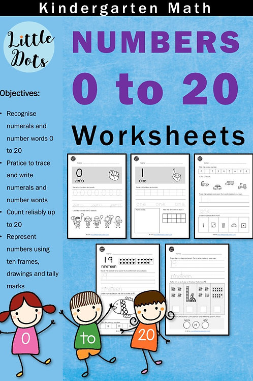 Numbers and counting worksheets within 20 for kindergarten