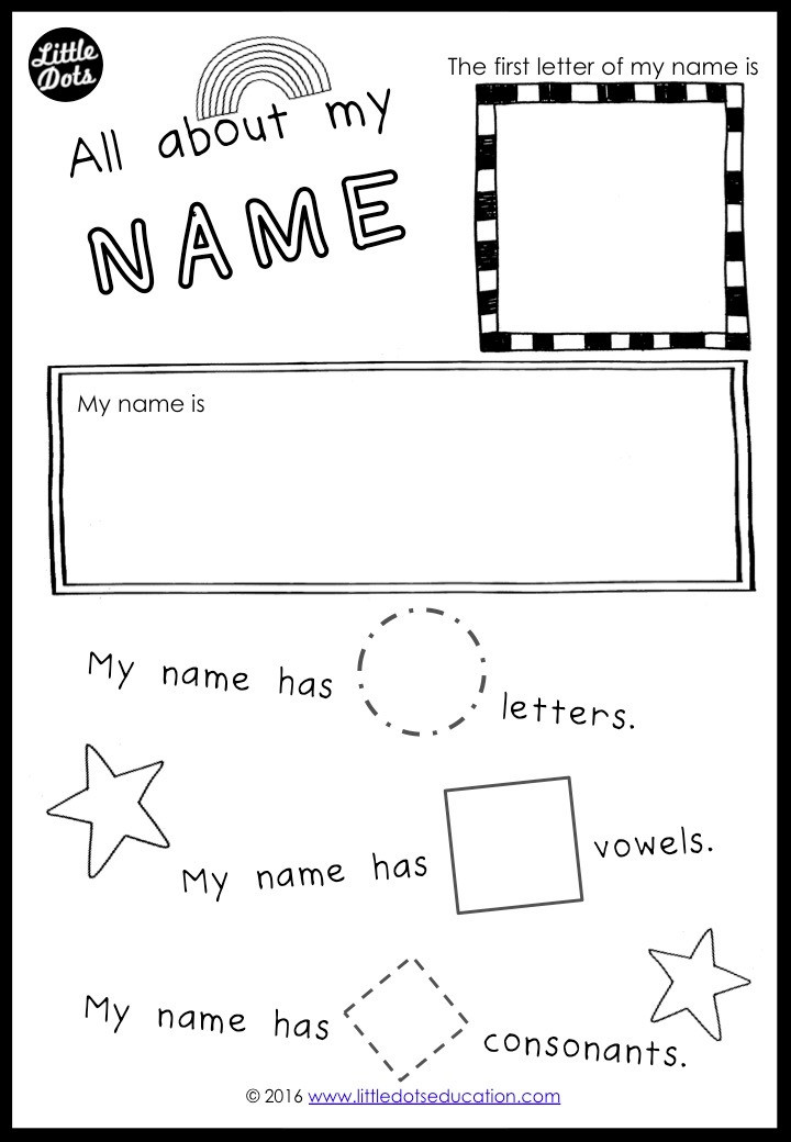 My Special Name Preschool Theme Activity. All about my name free printable.
