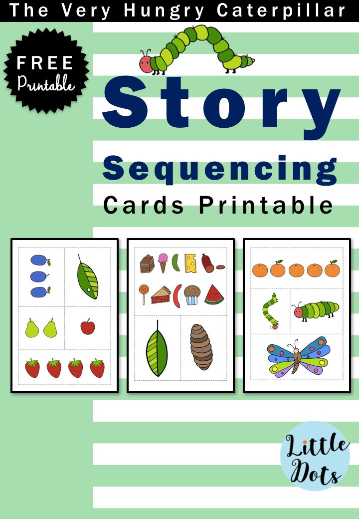 The Very Hungry Caterpillar story sequencing cards printable
