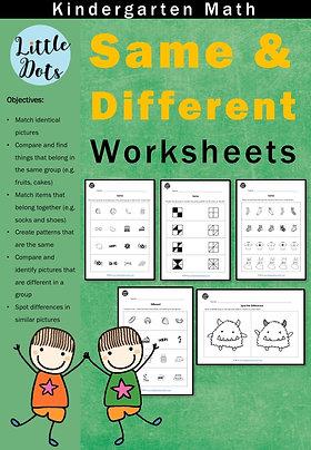Same and Different Worksheets for Kindergarten