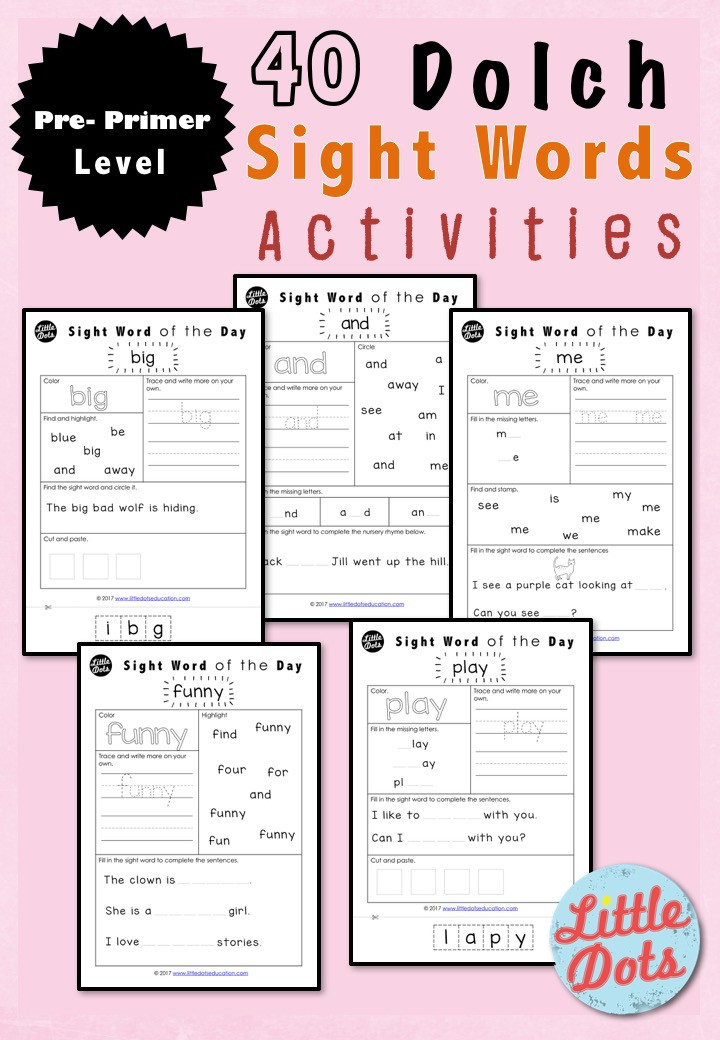Pre-primer Dolch Sight Words Worksheets Set