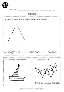 Free kindergarten triangle shape worksheet. Learn the basic properties of triangle shape and find triangle shapes in pictures.