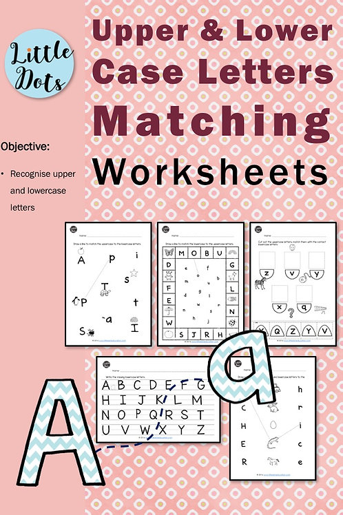 Uppercase and lowercase letters matching activities