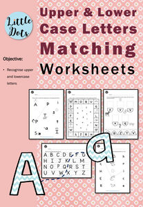 Matching Uppercase and Lowercase Letters Worksheets