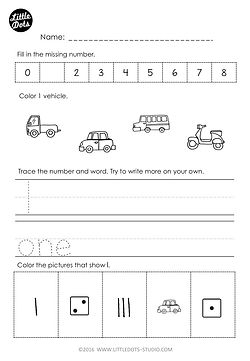 Free Kindergarten number and counting worksheet. Practice tracing number and number word for 1. Practice to count one to one correspondence and fill in the missing number in a number line.