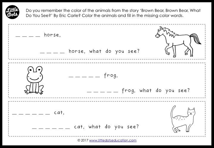 Preschool color words activity