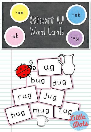 Free short u word family cards printable for -un, -ub, -ut and -ug