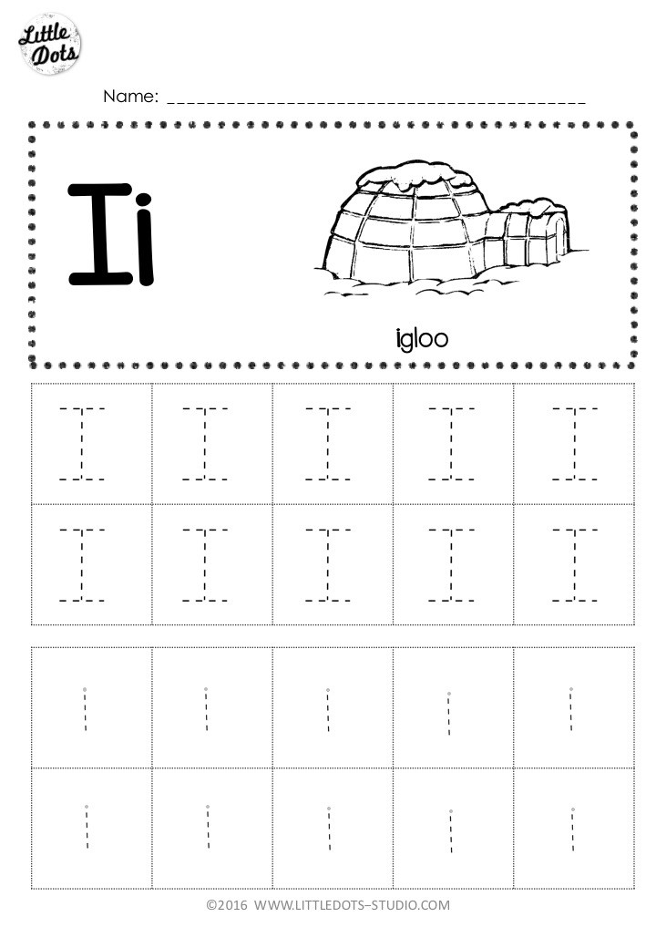 Free letter i tracing activity