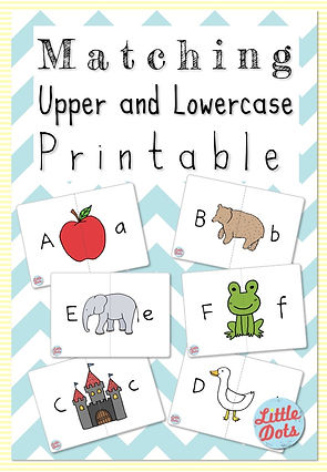 Free alphabet printable for uppercase and lowercase letters matching activities.