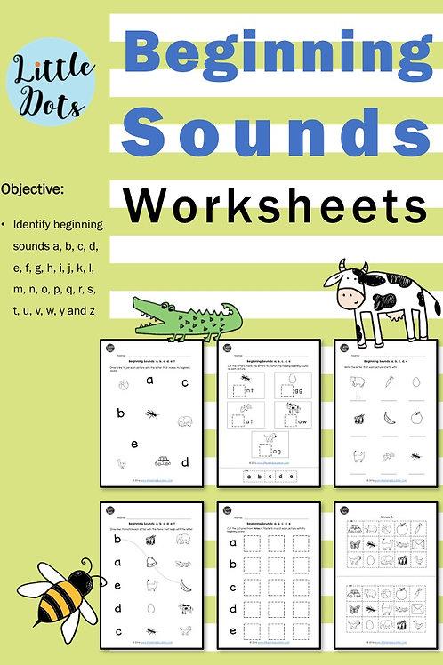 Beginning sounds phonics worksheets for preschool and kindergarten