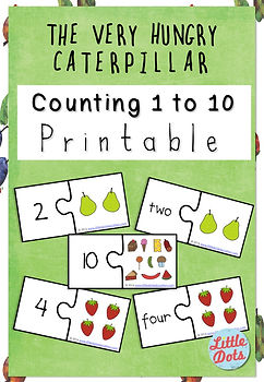 Free The Very Hungry Caterpillar Counting 1 to 10 Printable.