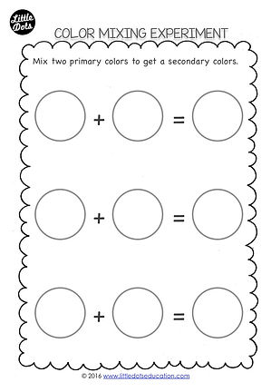 Free preschool color mixing printable. Experiment to mix two primary colors to get a seconday colors and record your findings using this printable.