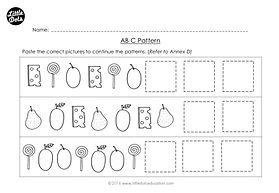 The Very Hungry Caterpillar patterning worksheet. Practice to continue ABC patterns.