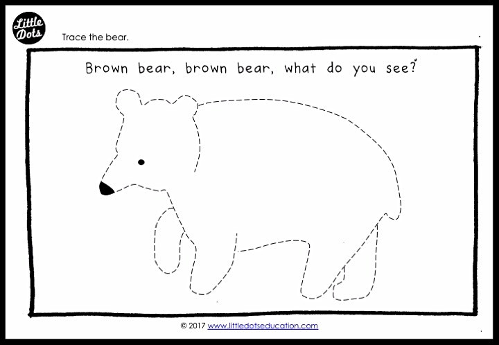 brown bear by Eric Carle tracing printable for preschool, pre-k and kindergarten