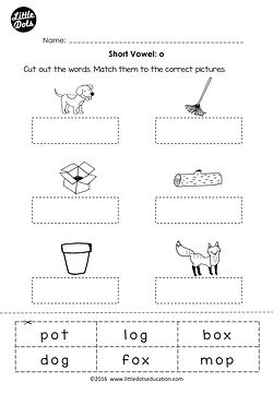 Free short vowel o worksheet and activity for preschool or kindergarten class